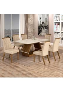 Conjunto Sala De Jantar Mesa Tampo De Vidro Off White 6 Cadeiras Esmeralda Leifer Ypê/Off White/Palha
