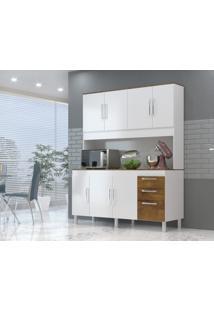 Cozinha Compacta Gemeos 1,44M 7 Portas 3 Gav. Branco Castanho - Castanho - Dafiti
