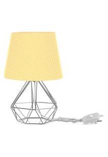 Abajur Diamante Dome Amarelo/Bolinha Com Aramado Cromado