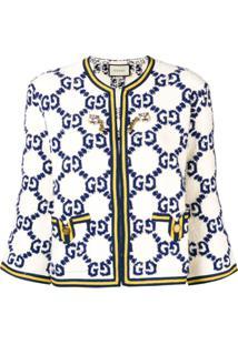 Gucci Jaqueta Com Logo Estampado - Branco