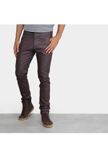 Calça Skinny Rock Blue Color Resinada Masculina - Masculino-Bordô