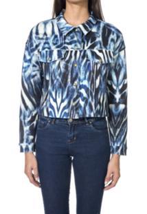 Jaqueta Wool Line Estampada Tigre Azul