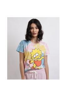 Blusa Feminina Lisa Simpson Estampada Tie Dye Manga Curta Decote Redondo Rosa