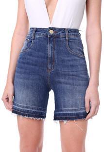 Bermuda Jeans Lança Perfume Reta Estonada Azul