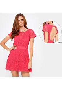 Vestido Forum Evasê Curto Renda - Feminino-Rosa