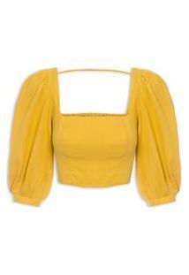 Blusa Feminina Cropped Decote Quadrado - Amarelo