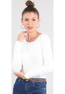 Suéter Feminino Básico Em Tricô Decote Redondo Off White