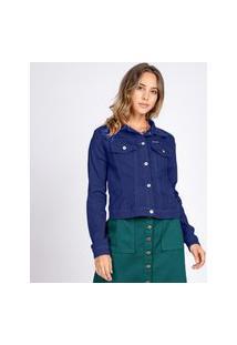 Jaqueta Jeans Tipo Moletom Bloom Classica Azul Noite