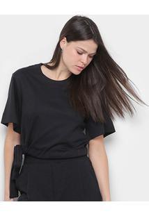 Blusa Osklen Soft Cotton Detail Feminina - Feminino-Preto