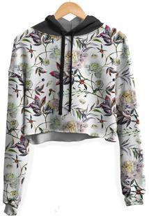 Blusa Cropped Moletom Feminina Over Fame Floral Aquarela - Tricae