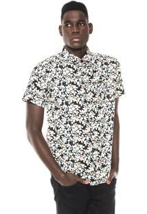 Camisa Cavalera Eric Floral Preta/Off-White