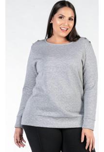 Blusa Plus Size Cinza Mescla Matelassê