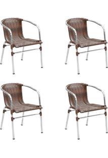 Conjunto Com 4 Cadeiras Danubia Marrom