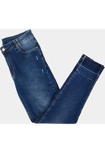 35840bd07 ... Calça Jeans Cigarrete Sawary Estonada Barra Desfeita Plus Size Feminina  - Feminino