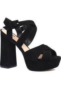 Sandália Zariff Shoes Salto Grosso Fivela Preto