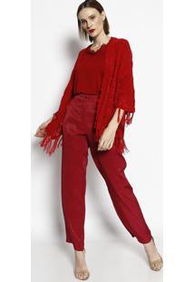 Casaqueto Em Tricô Com Franjas- Vermelho- Cotton Colcotton Colors Extra