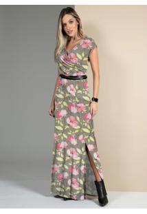 Vestido Floral Bege Com Decote Transpassado