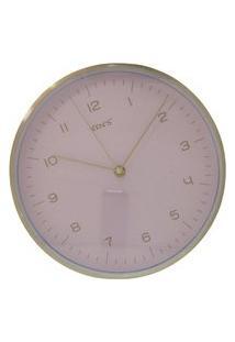 Relógio De Parede Redondo Liso Rosa E Dourado - Imporiente