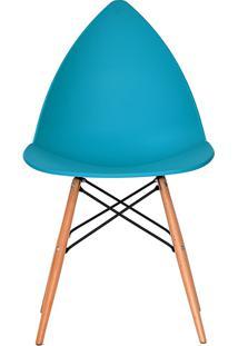 Cadeira P&W Plástico Pp E Base Em Madeira De Faia E Aço Azul - Orb