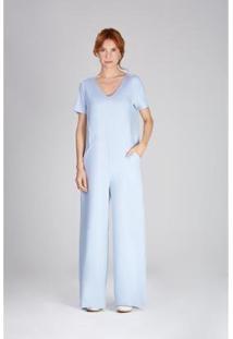 Macacão Yogini Pantalona Oslo Feminino - Feminino-Azul