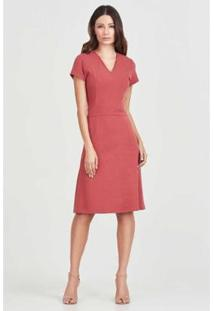 Vestido Recortes Rubinella Manguinha Feminino - Feminino-Coral