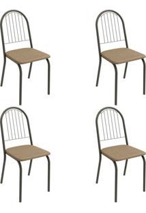 Conjunto Com 4 Cadeiras De Cozinha Noruega Preto E Capuccino