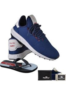 Kit Tênis Polo Joy Sport Com Carteira Chinelo E Cinto Masculino - Masculino-Azul Escuro