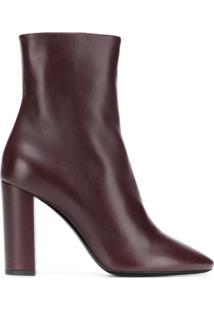 Saint Laurent Ankle Boot 'Lou' De Couro - Vermelho