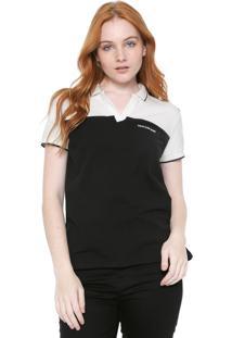 Camisa Polo Calvin Klein Jeans Recortes Preta/Off-White