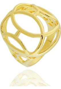 Anel Abaulado Oval Curvas Semi Joia - Feminino-Dourado