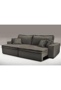 Sofa Retrátil E Reclinável Com Molas Cama Inbox Premium 2,92M Tecido Em Linho Marrom