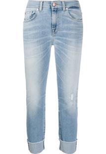 7 For All Mankind Calça Jeans Skinny Cropped Cintura Média - Azul