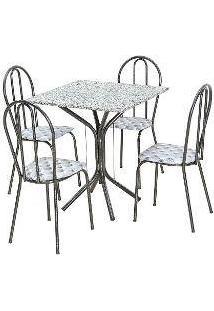 Conjunto De Mesa Thais Com 4 Cadeiras Craqueado Preto Capitonê