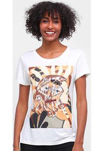 Camiseta Carmim Estampada Manga Curta Feminina - Feminino