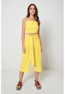 Calça Oh, Boy! Pantacourt Amarração Feminina - Feminino-Amarelo