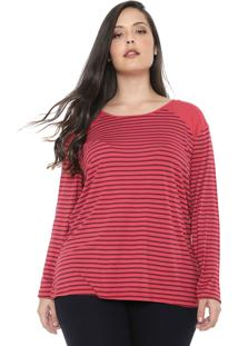 Blusa Cativa Plus Listrada Vermelha