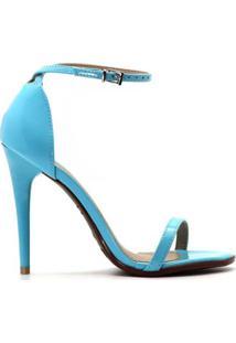 Sandália Royalz Verniz Salto Alto Fino Tira Feminino - Feminino-Azul
