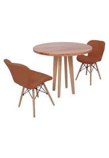 Conjunto Mesa De Jantar Em Madeira 90Cm Com Base Vértice + 2 Cadeiras Slim - Marrom