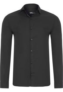Camisa Masculina Tricoline - Preto