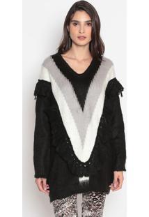 Blusão Em Tricô Com Babado- Preto & Cinza- Cotton Cocotton Colors Extra