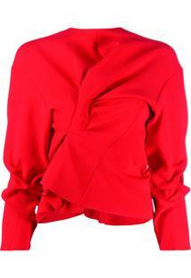 A.W.A.K.E. Mode Blusa Assimétrica Com Babados - Vermelho