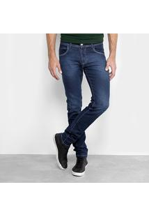 Calça Jeans Slim Fit Coffee Estonada Pespontos Cintura Média Masculina - Masculino