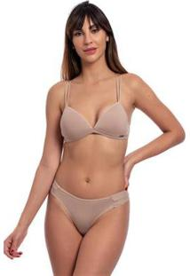Conjunto Lingerie Top Triângulo Lateral Média Plissada Liso - Feminino-Nude
