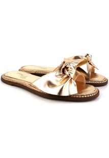 Rasteira Trivalle Shoes Laço Ouro