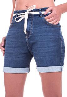 Shorts Jeans Bloom Com Lycra Azul