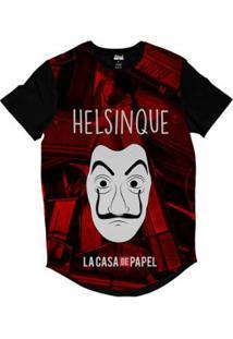 Camiseta Longline Attack Life La Casa De Papel Helsinque Sublimada Masculina - Masculino-Vermelho