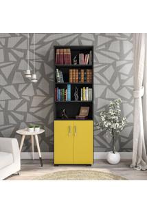 Estante Livreiro 6 Prateleiras Office Preto Com Portas Pequenas Amarelas Móveis Leão