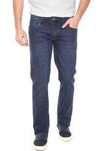 Calça Jeans Aramis Reta Estonada Azul-Marinho