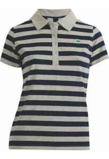 Camisa Polo Pau A Pique Listrada - Feminino-Marinho