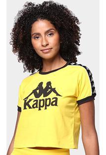 Camiseta Kappa Cropped Piaza Feminina - Feminino-Amarelo